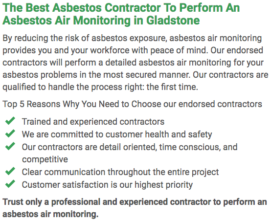 Asbestos Watch Gladstone - air monitoring left