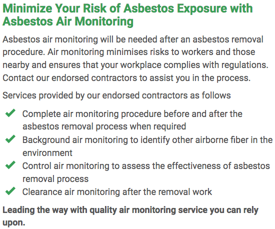 Asbestos Watch Gladstone - air monitoring right