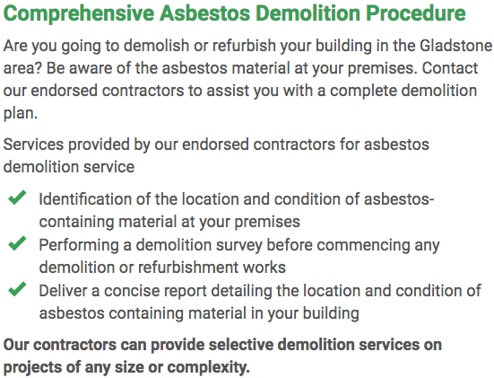 Asbestos Watch Gladstone - demolition right