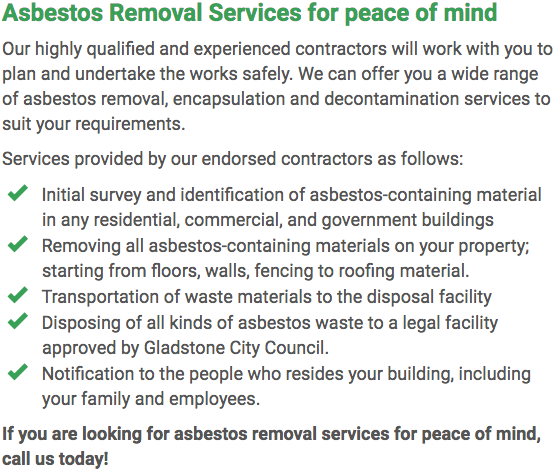 Asbestos Watch Gladstone - removal right