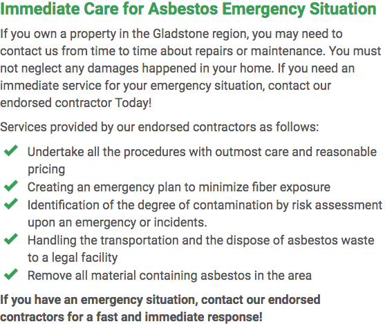 Asbestos Watch Gladstone - emergency repairs Gladstone