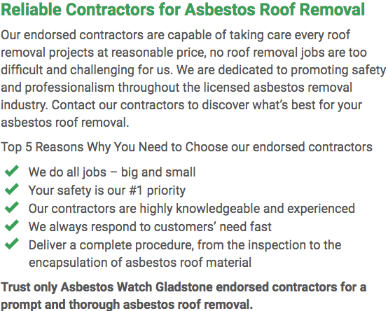 Asbestos Watch Gladstone - roof removal left