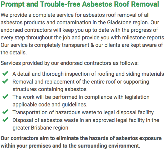 Asbestos Watch Gladstone - roof removal right